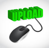 Computer mouse and upload word illustration — Stock Photo