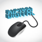 Computer mouse connected to the blue word Digital — Stock Photo