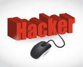 ハッカーの記号とマウスのイラスト デザイン — ストック写真