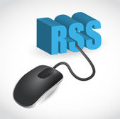 Rss sign connected to mouse illustration design — Stock Photo