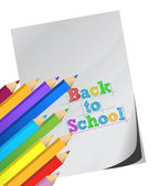 Back to school, Color pencils and white paper — Stock Photo