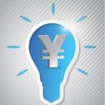 Yen idea light bulb cut out — Stock Photo #27327509