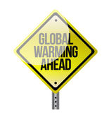 Global warming yellow road sign — Stock Photo