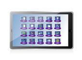 Tablet com design ilustração de apps ou botões — Foto Stock