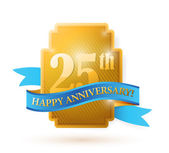 25 years anniversary golden seal with ribbon. — Stock Photo