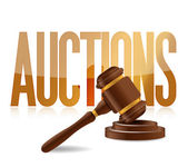Word auction and wooden gavel — Stock Photo