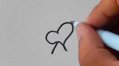 绘图的心。优秀的爱的宣言. — Stockvideo