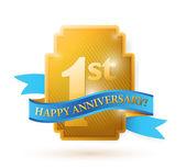 First years anniversary shield. — Stock Photo
