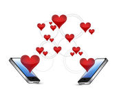 Smartphones and hearts communication concept — Stock Photo