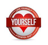 Love Yourself badge illustration — Stock Photo