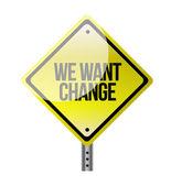 Chceme změnit žlutá dopravní značka — Stock fotografie
