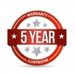 Five year warranty seal illustration design — Stock Photo