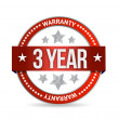 Three year warranty seal illustration — Stock Photo