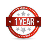 One year warranty seal illustration design — Stock Photo