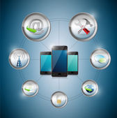 Smart phone settings option cycle, illustration — Stock Photo