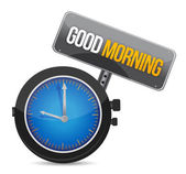 Clock with the text good morning illustration — Stok fotoğraf