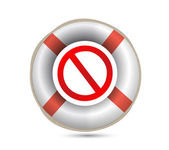 Lifebuoy and forbid symbol.Isolated on white. — Stock Photo