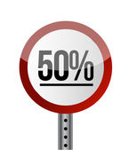 Road sign White Red with word 50 Percent. — Stock Photo