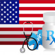 US Healthcare flag and medicine illustration — Stock Photo #27903193