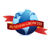 Business growth with globe illustration — Stock Photo