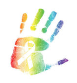 Gay Pride ribbon handprint illustration — Stock Photo