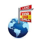 Prodáno znamení na planetě zemi ilustrace — Stock fotografie