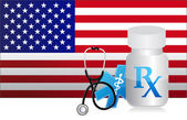 US Healthcare flag and medicine illustration — Stock Photo