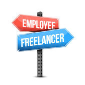 Employee or freelancer road sign illustration — Stock Photo