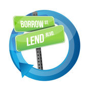 Drogowskaz słów pożyczać i pożyczać — Zdjęcie stockowe