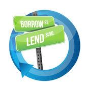 Roadsign slov půjčovat si a půjčovat — Stock fotografie