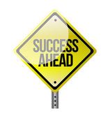 Success ahead yellow road sign — Stock fotografie
