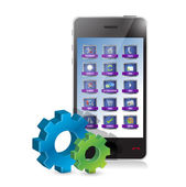 Smartphone and set of gears illustration — Stock Photo