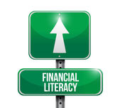Financial literacy road sign illustrations design — Stock Photo