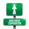Agreement corporation road sign illustrations — Stock Photo