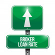 Broker loan rate road sign illustrations design — Stock Photo