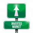 Inverted market road sign illustration — Stock Photo