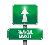 Financial market road sign illustration — Stock Photo