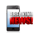 Breaking news sign on a smartphone. illustration — Stock Photo