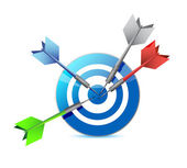 Everyone hits the target. target and goal. — Stock Photo
