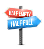Half full, half empty road sign illustration — Stock Photo