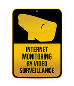 Internet monitoring by video surveillance sign — Stock Photo