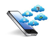 Smartphone connected to a series of cloud. — Stock Photo