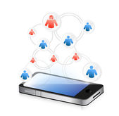Social media network on a smartphone. illustration — Stock Photo