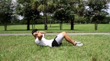 Male exercising abs. sit-ups workout. front view — Stock Video