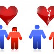 Love versus divorce concept. illustration design — Stock Photo