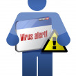 Icon holding a browser with a virus alert. — Stock Photo