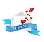 Kocham cię poczty. projekt ilustracja koperta — Zdjęcie stockowe