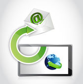 Mail communication using tablet. illustration — Stock Photo