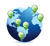 Globo e foglie. illustrazione di concetto pianeta eco — Foto Stock