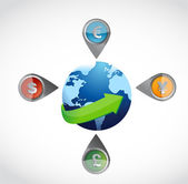 Currency management arrange all the world. — Stock Photo